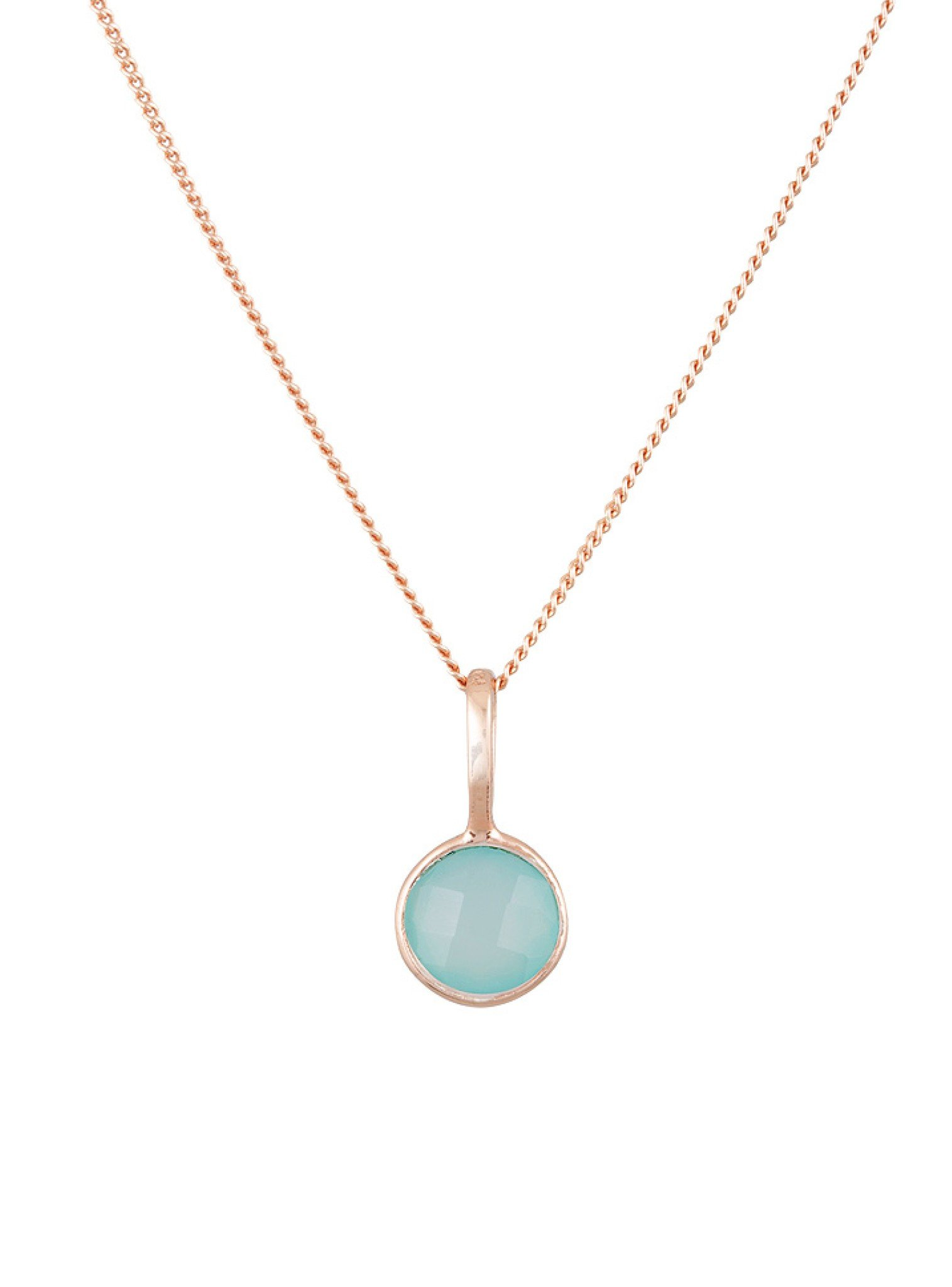 Selene Single Pendant Aqua Chalcedony Necklace in Rose Gold