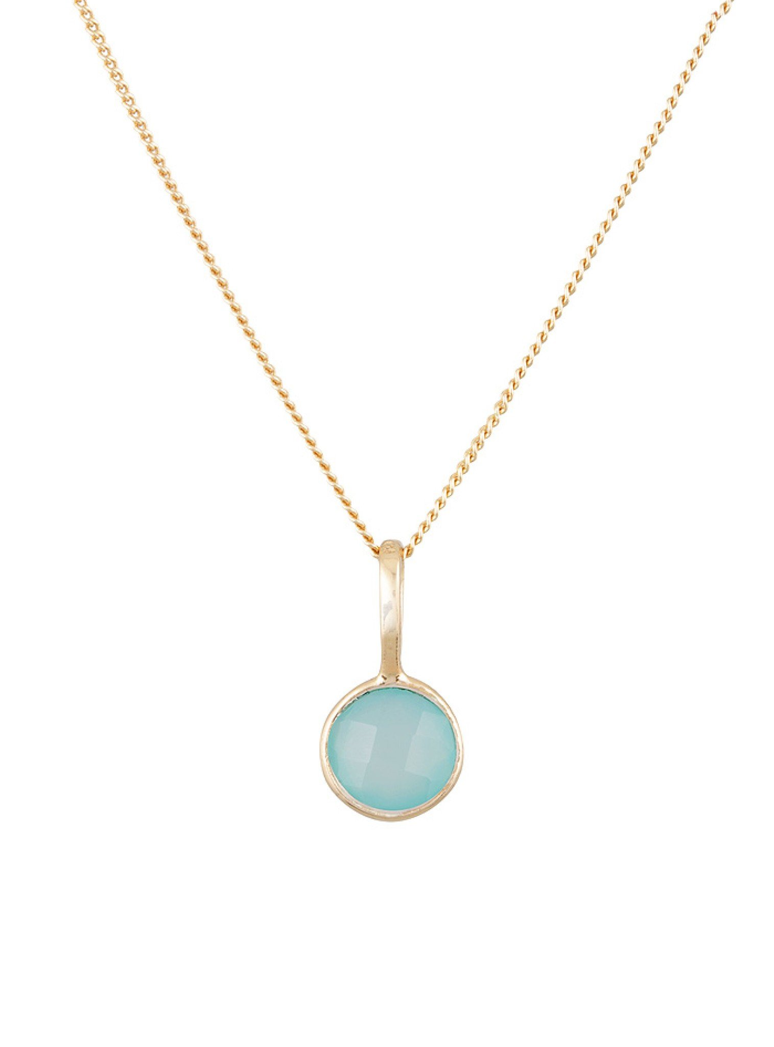 Selene Single Pendant Aqua Chalcedony Necklace in Gold