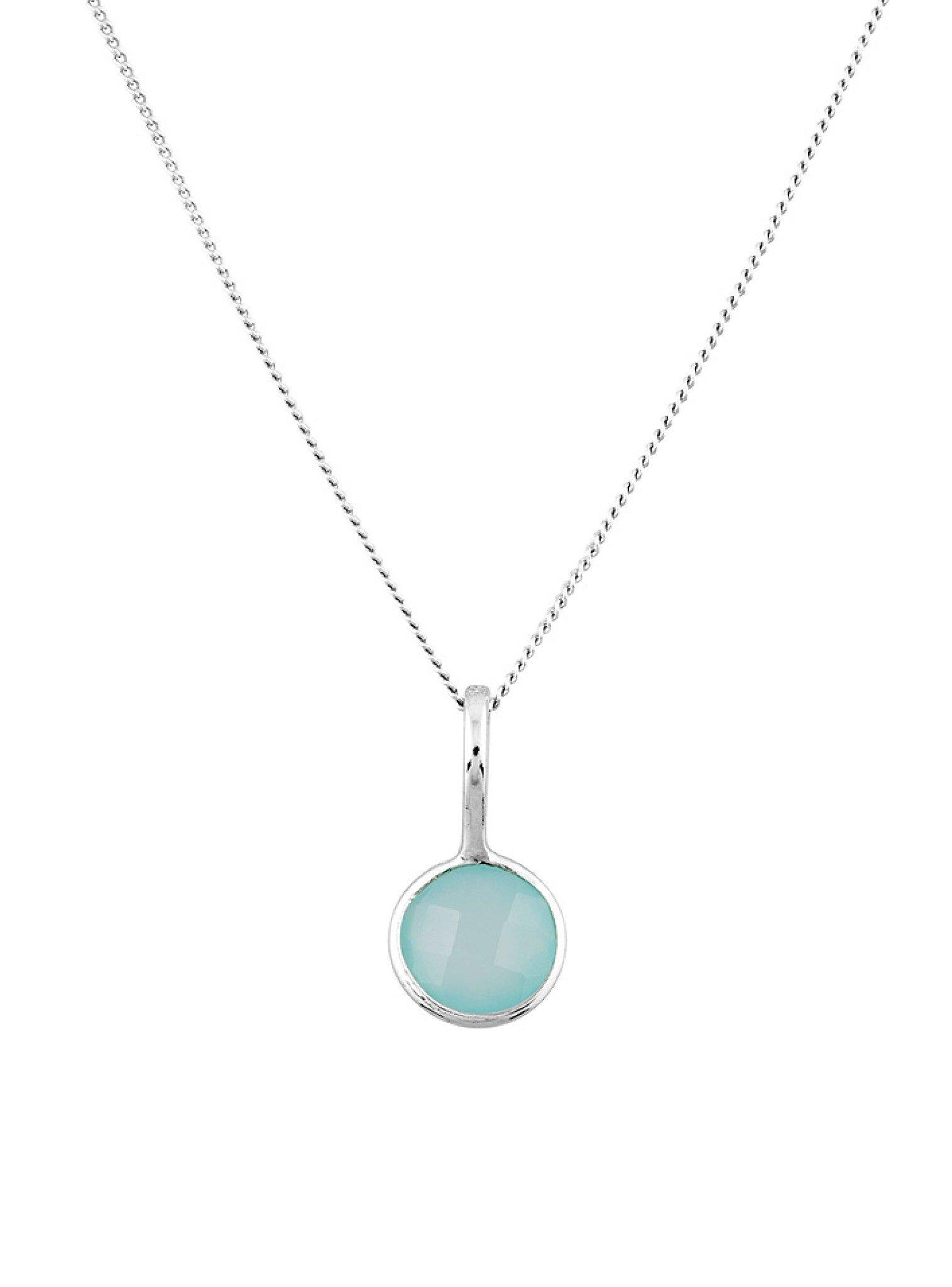 Selene Single Pendant Aqua Chalcedony Necklace in Silver