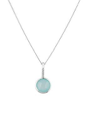 Selene Single Pendant Aqua Chalcedony Necklace in Silver