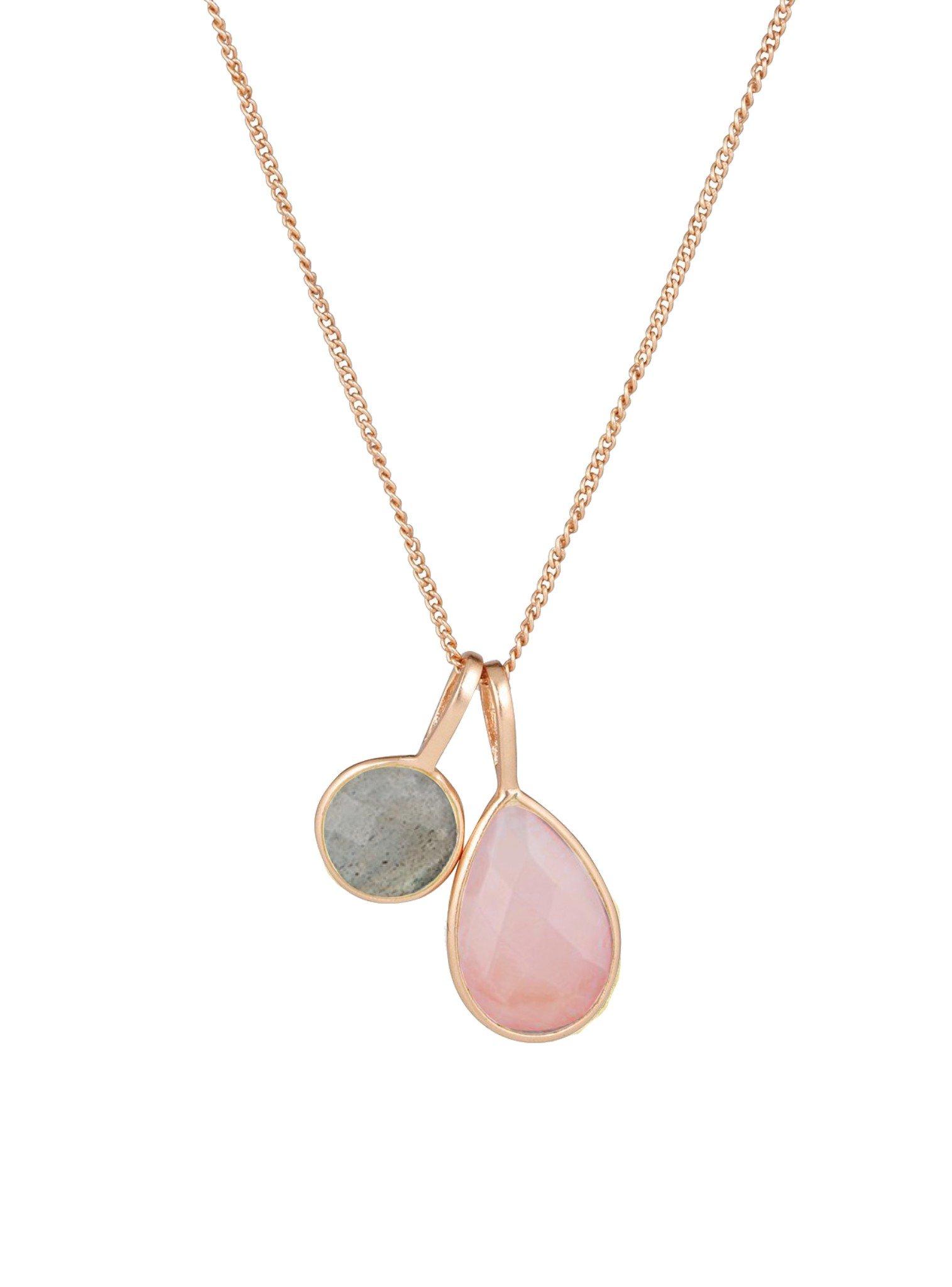 Selene Double Pendant Rose Quartz Laboradorite Necklace Rose Gold