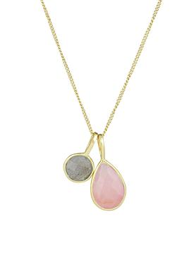 Selene Double Pendant Rose Quartz Laboradorite Necklace Gold