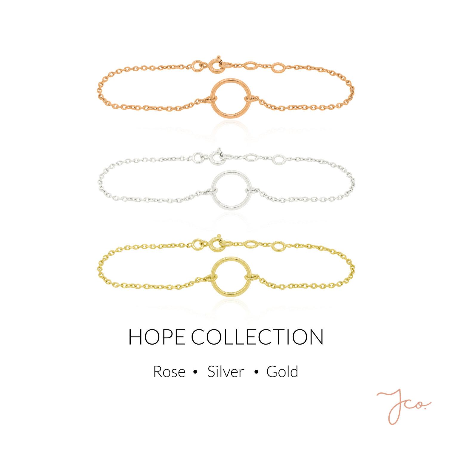 Hope Circle Bracelet in Rose Gold