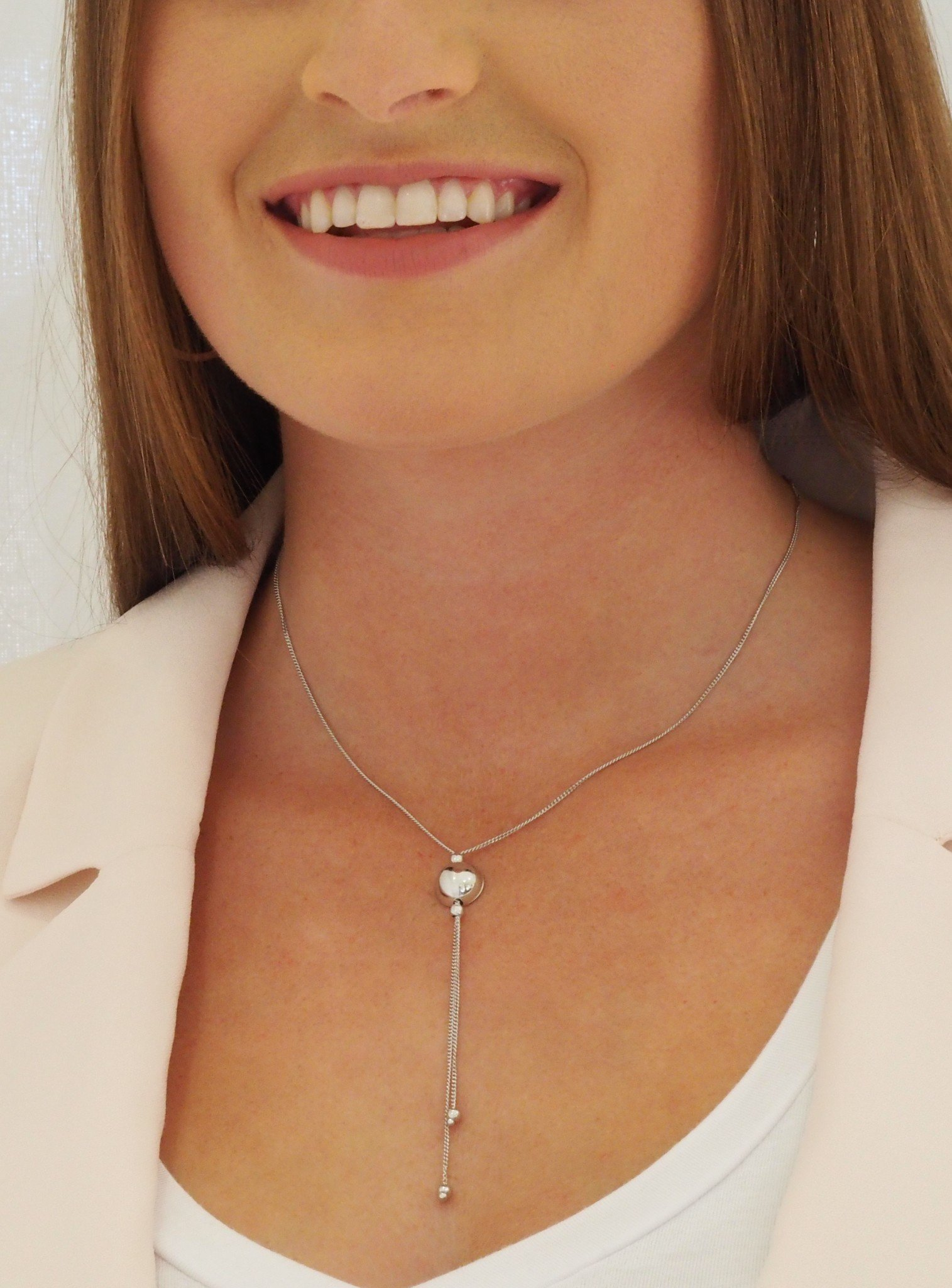 Elise Lariat Ball Necklace in Sterling Silver