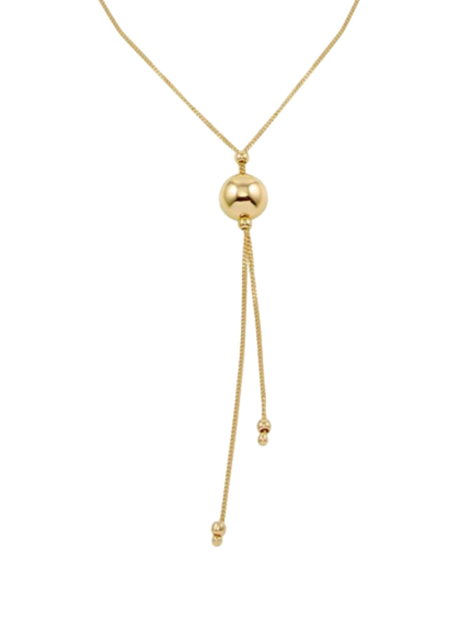 Elise Lariat Ball Necklace in Gold
