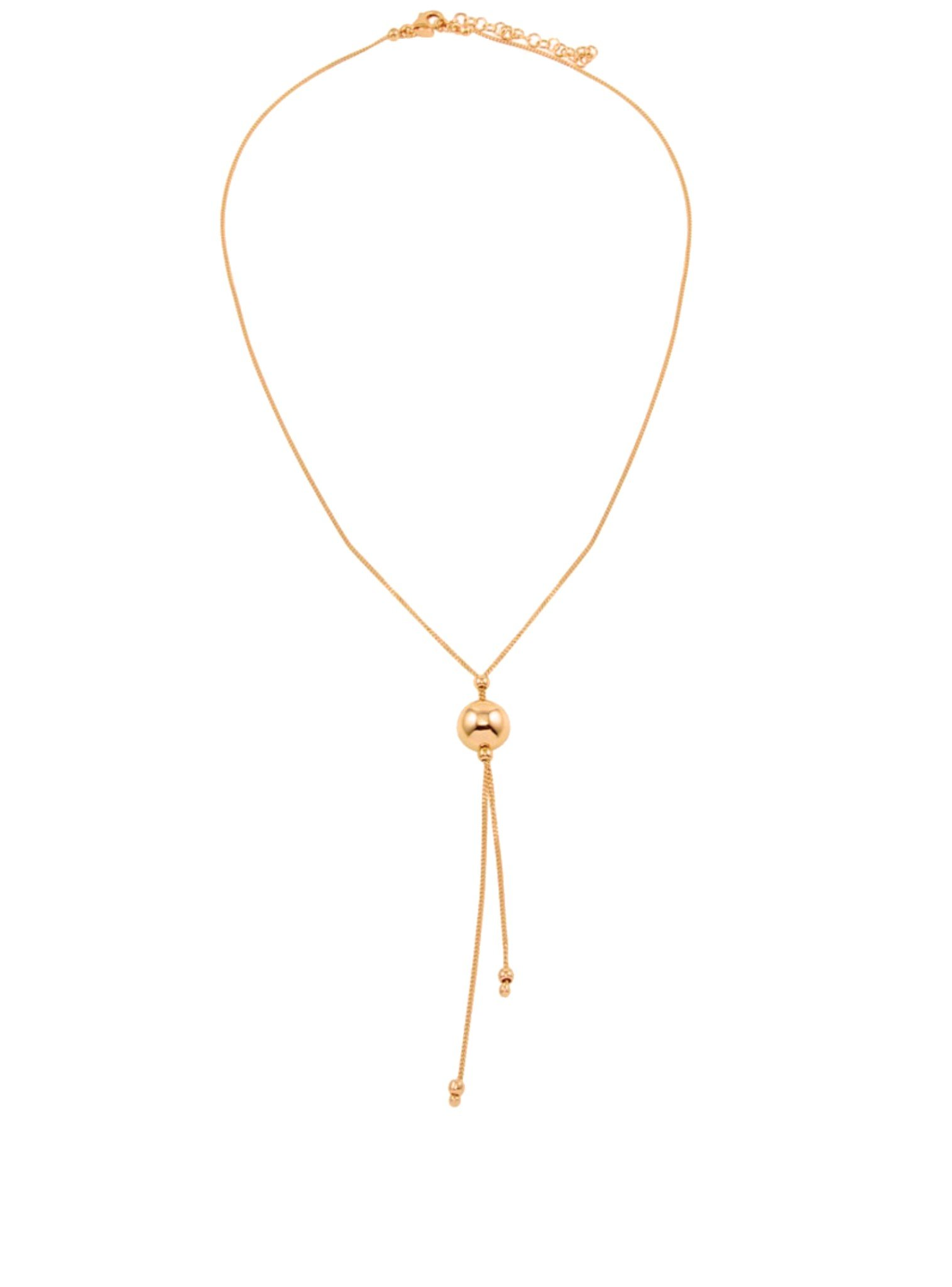Elise Lariat Ball Necklace in Rose Gold