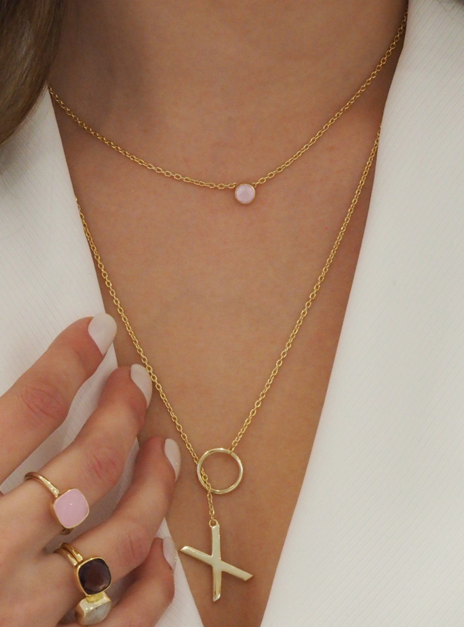 Hugs and Kisses XO Necklace in Gold