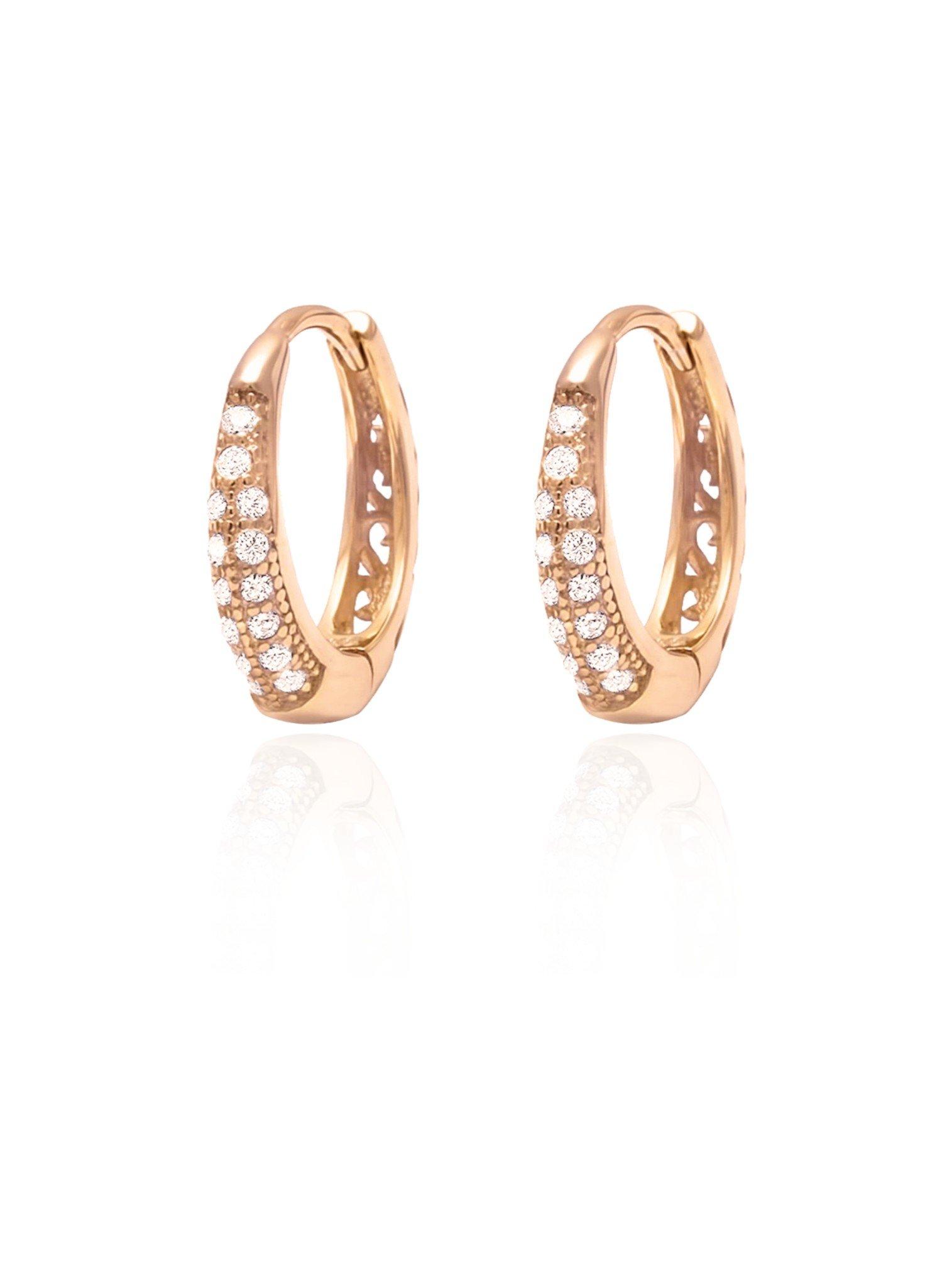Gigi Huggie Cz Hoop Earrings in Rose Gold