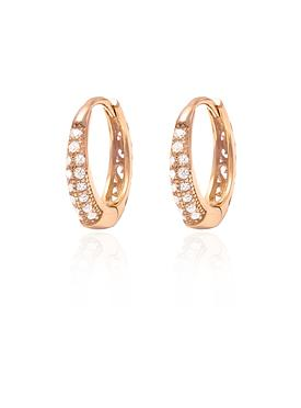 Gigi Huggie Cz Hoop Earrings in Rose Gold