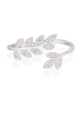 Olive Leaf Cz Branch Ring in Silver