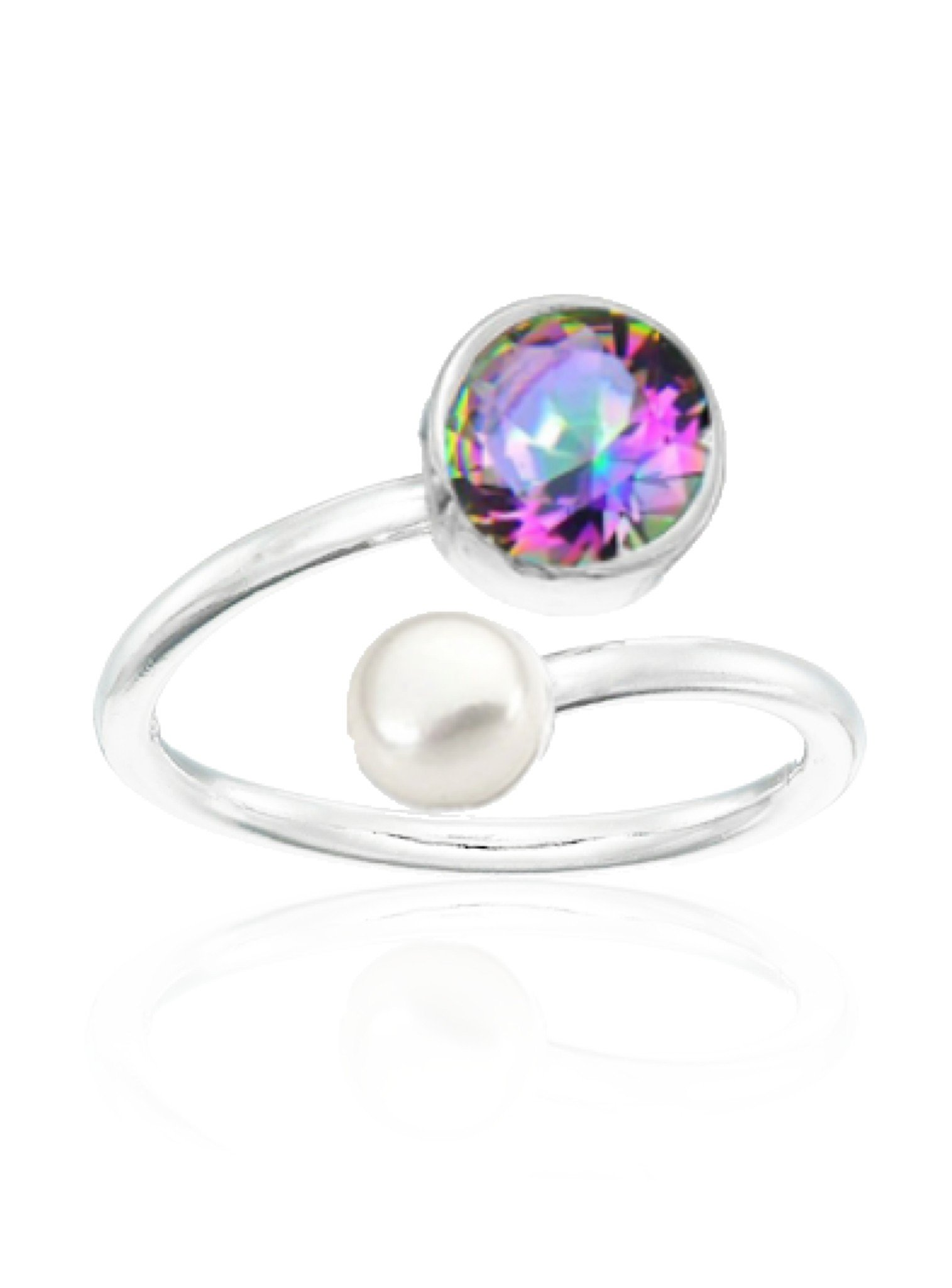 Clarke Mystic Pearl Ring in Silver