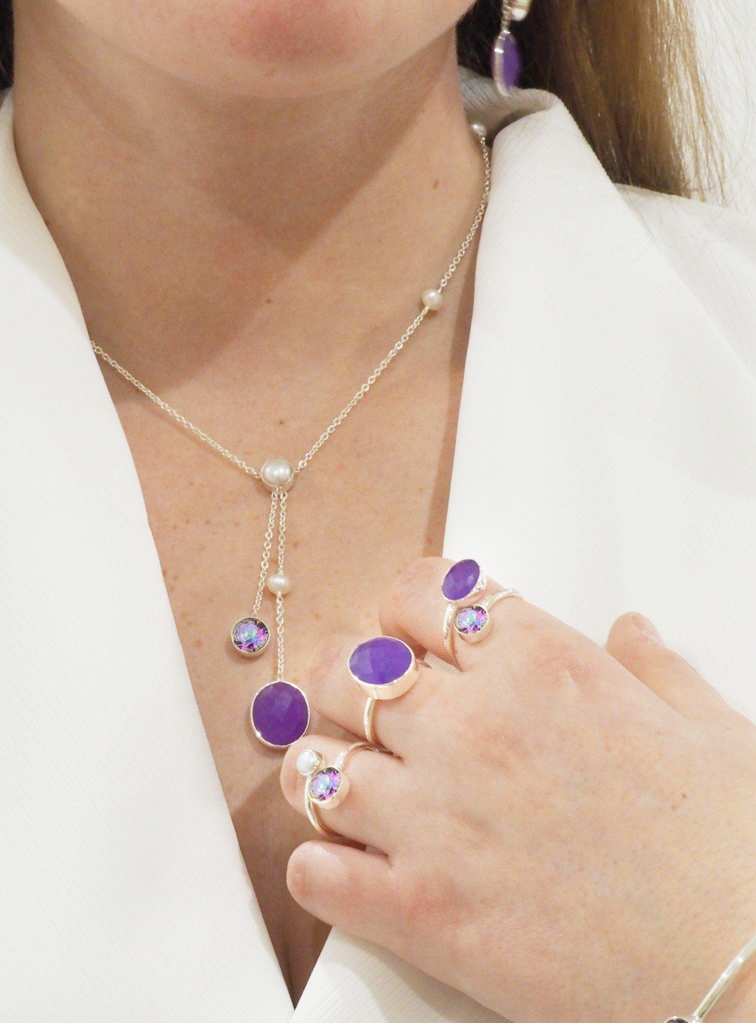 Clarke Lavender Jade Ring in Silver
