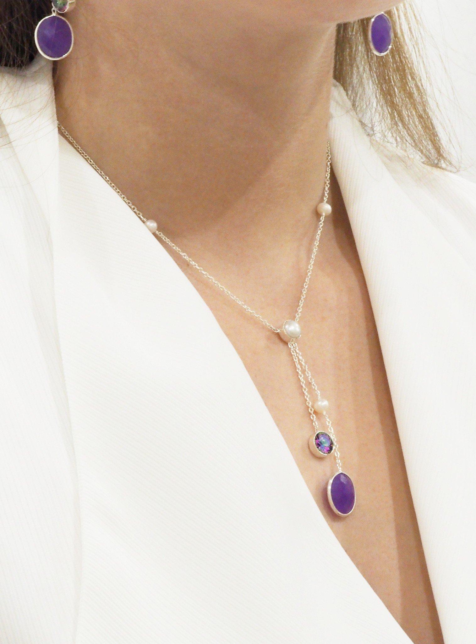 Clarke Gemstone Necklace in Silver