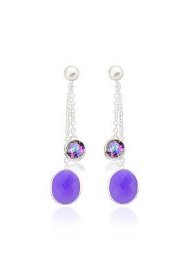 Clarke Gemstone Dangle Earrings in Silver