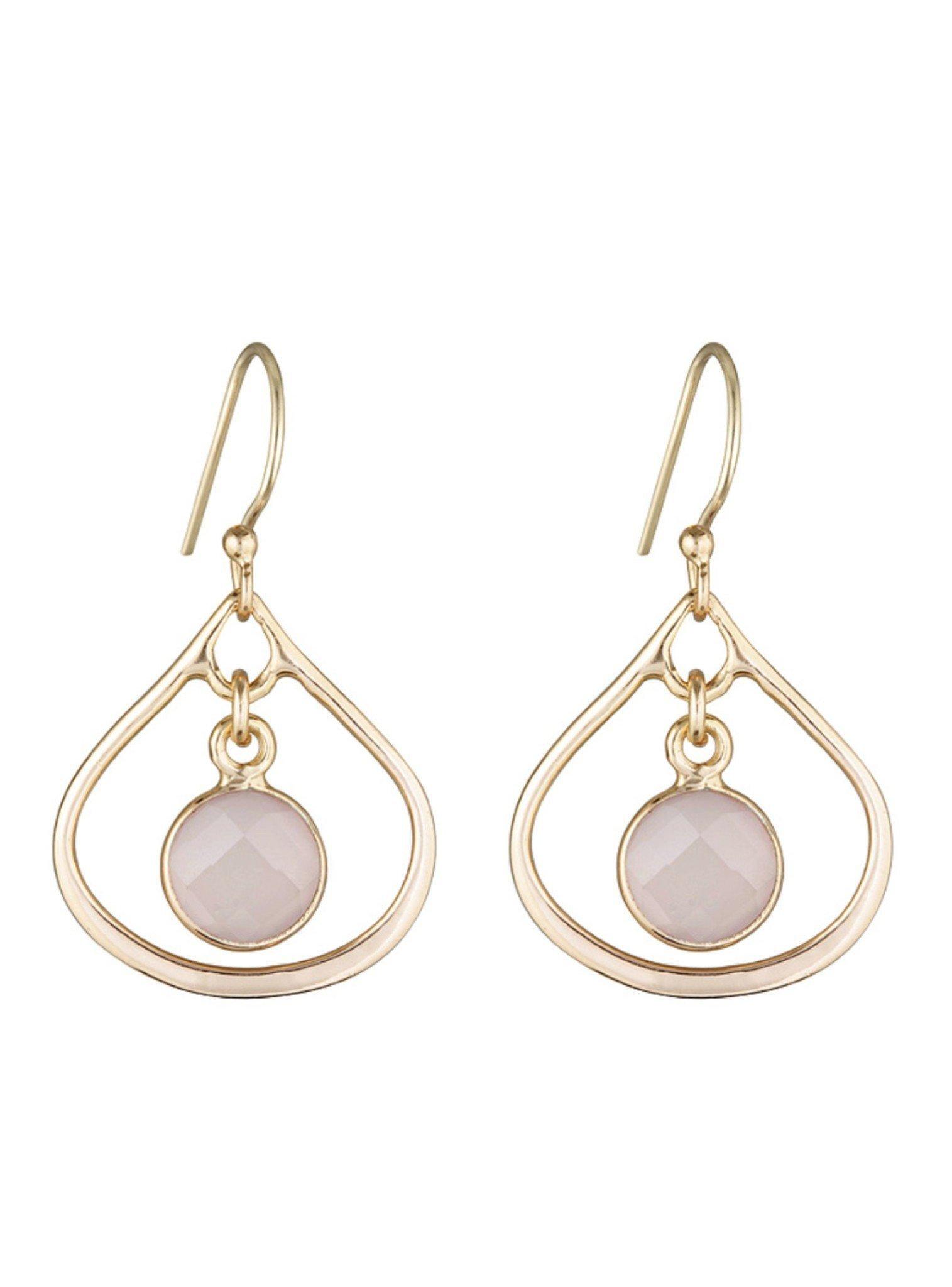 Selene Mini Stone Earrings Rose Quartz in Gold