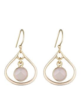 Selene Mini Stone Earrings Rose Quartz in Gold
