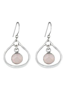 Selene Mini Stone Earrings Rose Quartz in Silver