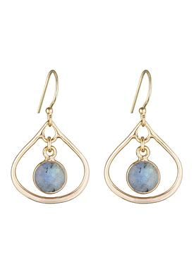 Selene Mini Stone Earrings Labradorite in Gold