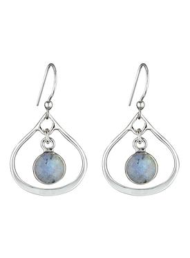 Selene Mini Stone Earrings Labradorite in Silver