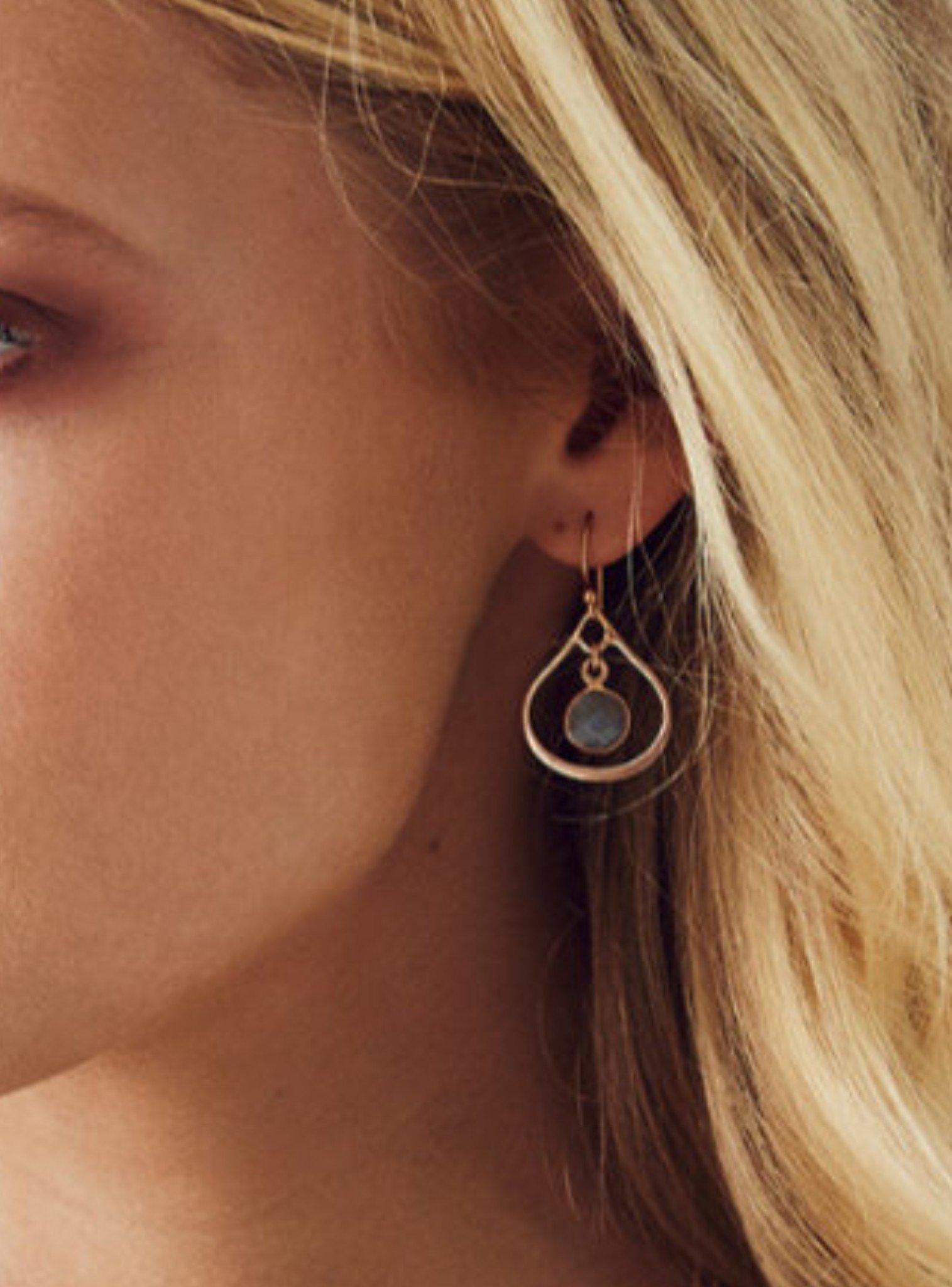 Selene Mini Stone Earrings Labradorite in Rose Gold