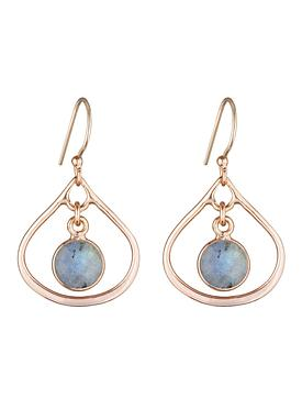 Selene Mini Stone Earrings Labradorite in Rose Gold