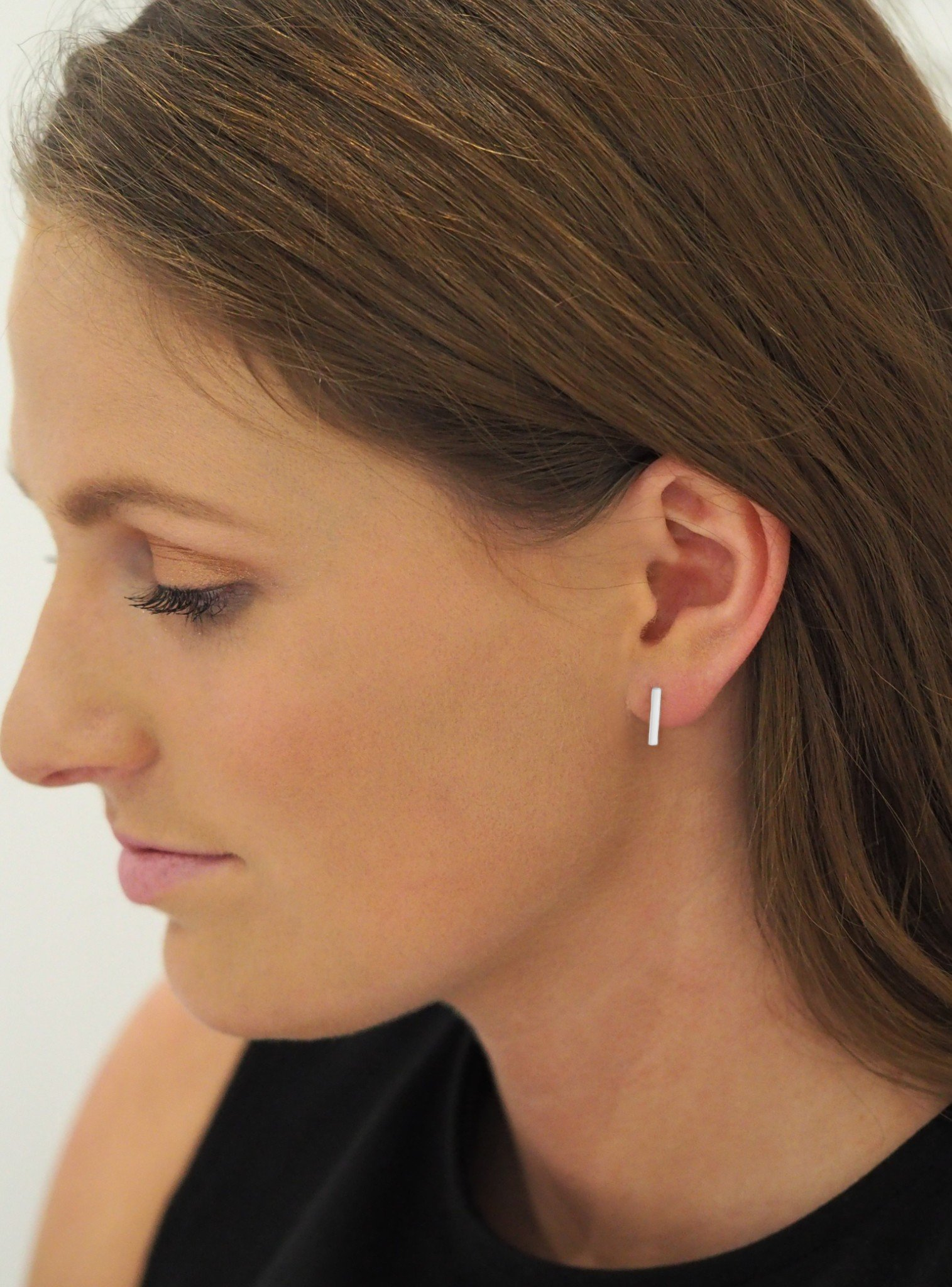 Dakota Simple Bar Stud Earrings in Silver