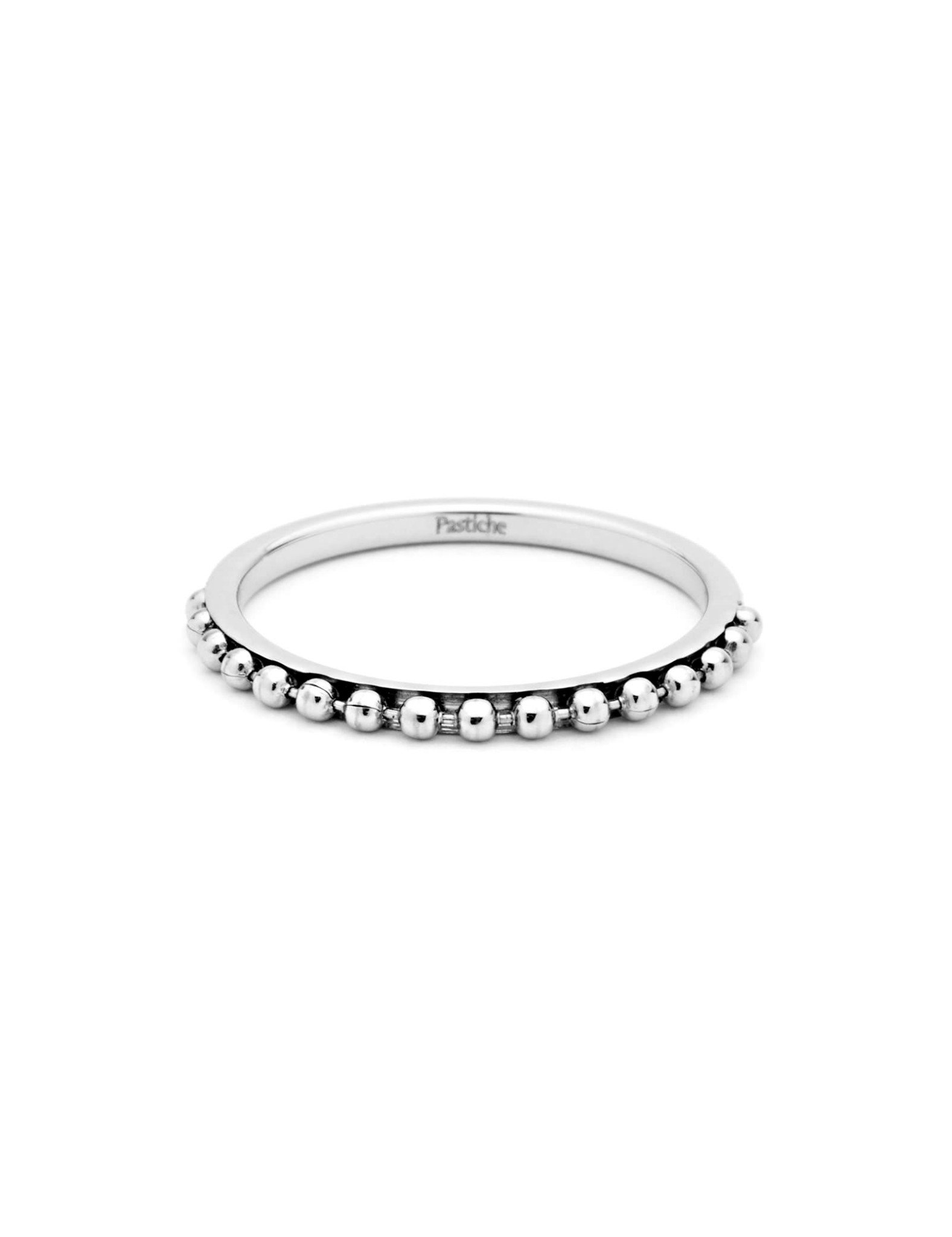 Pastiche Ball Stacking Ring in Silver