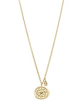 Northern Lights Compass Necklace in Gold