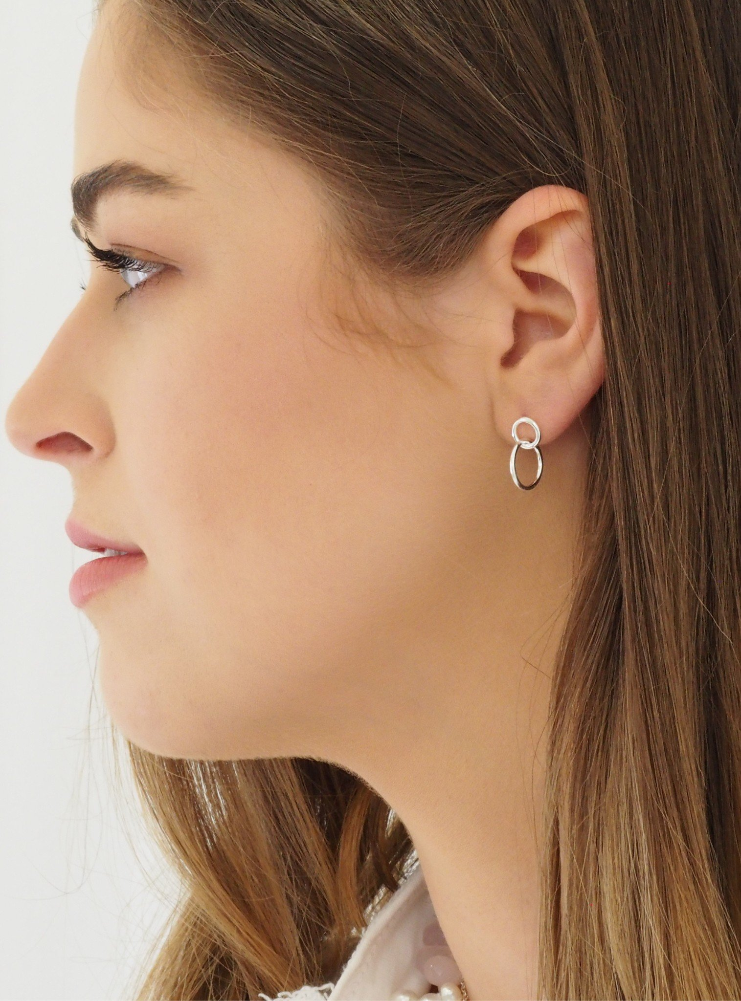 Dakota Double Circle Earrings in Silver