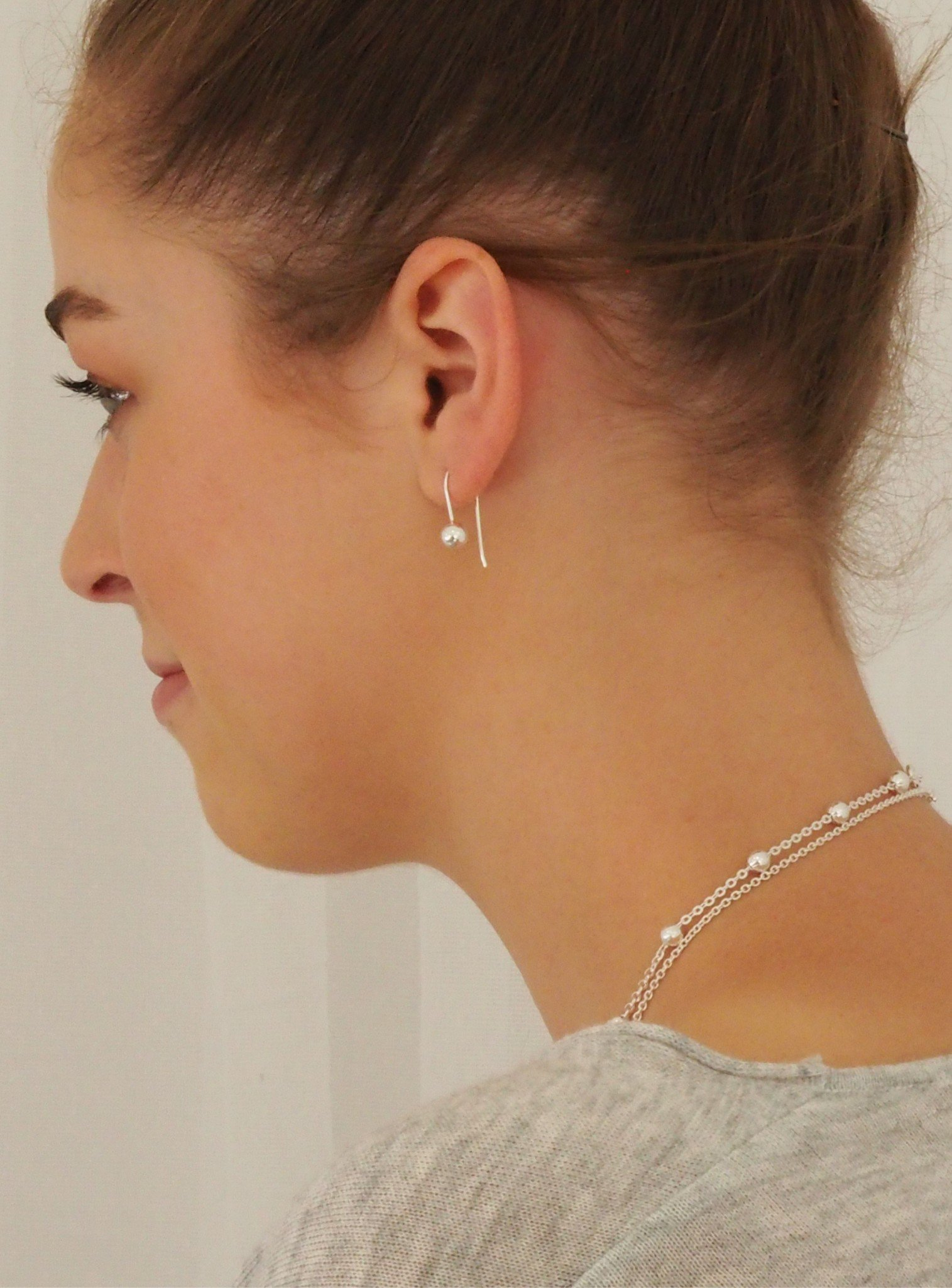 Elise Ball Drop Earrings in Sterling Silver