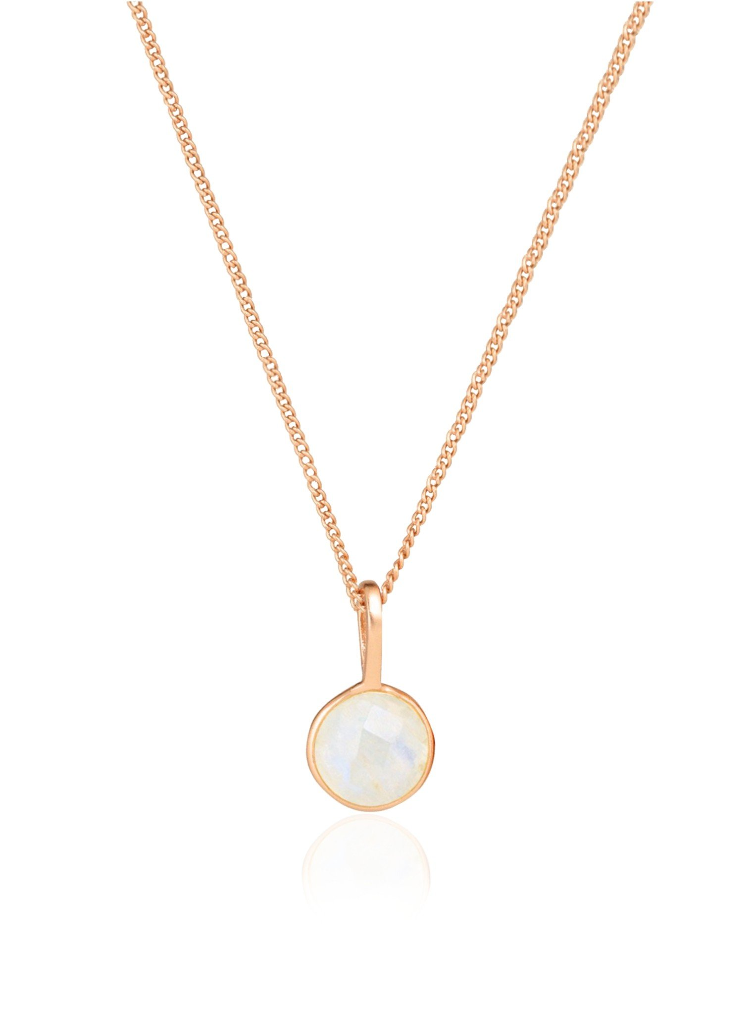 Selene Single Pendant Moonstone Necklace in Rose Gold