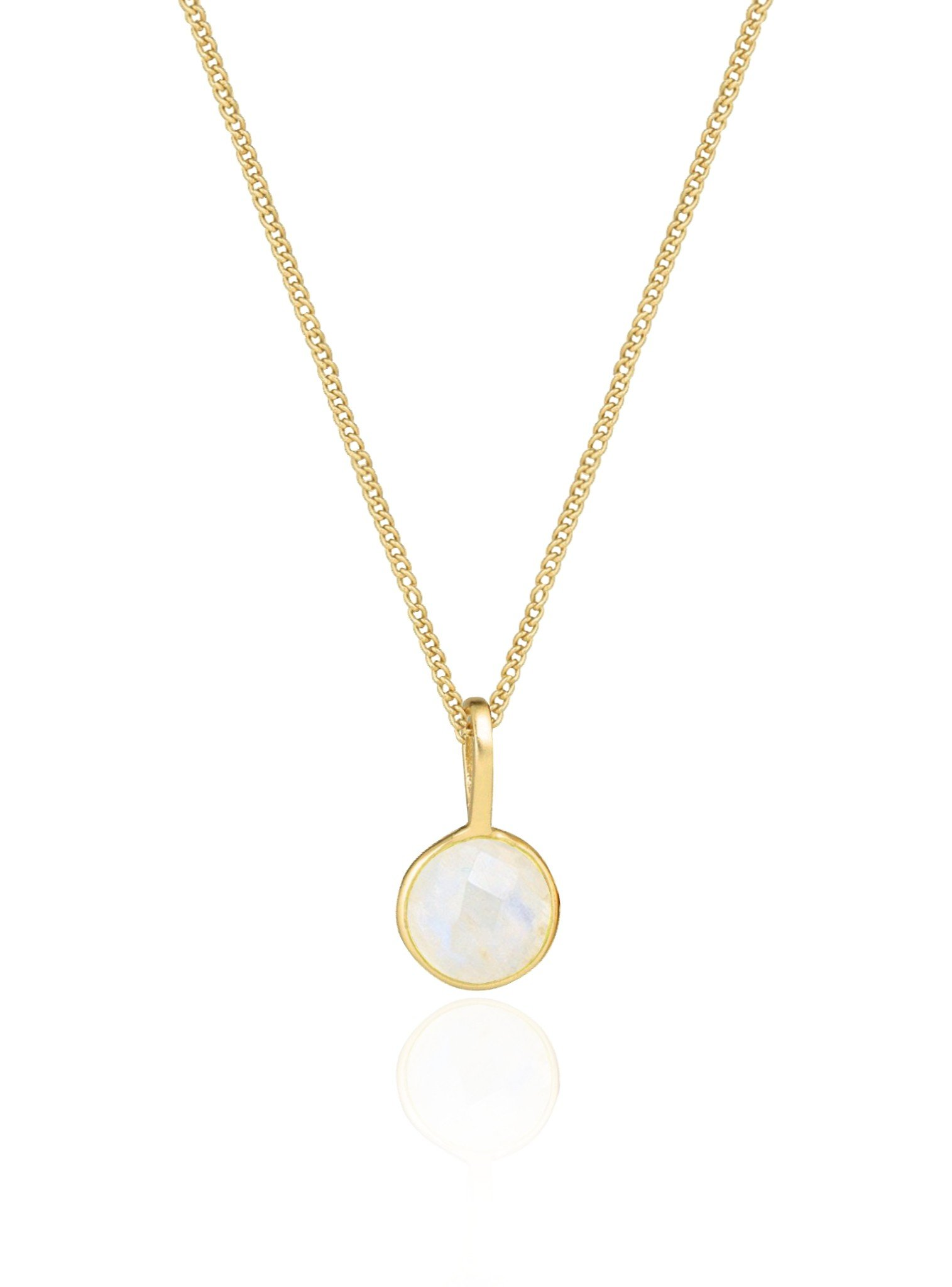 Selene Single Pendant Moonstone Necklace in Gold