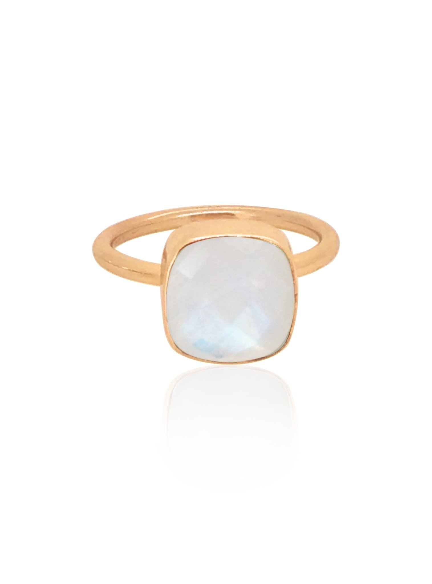 Indie Moonstone Gemstone Ring in Rose Gold