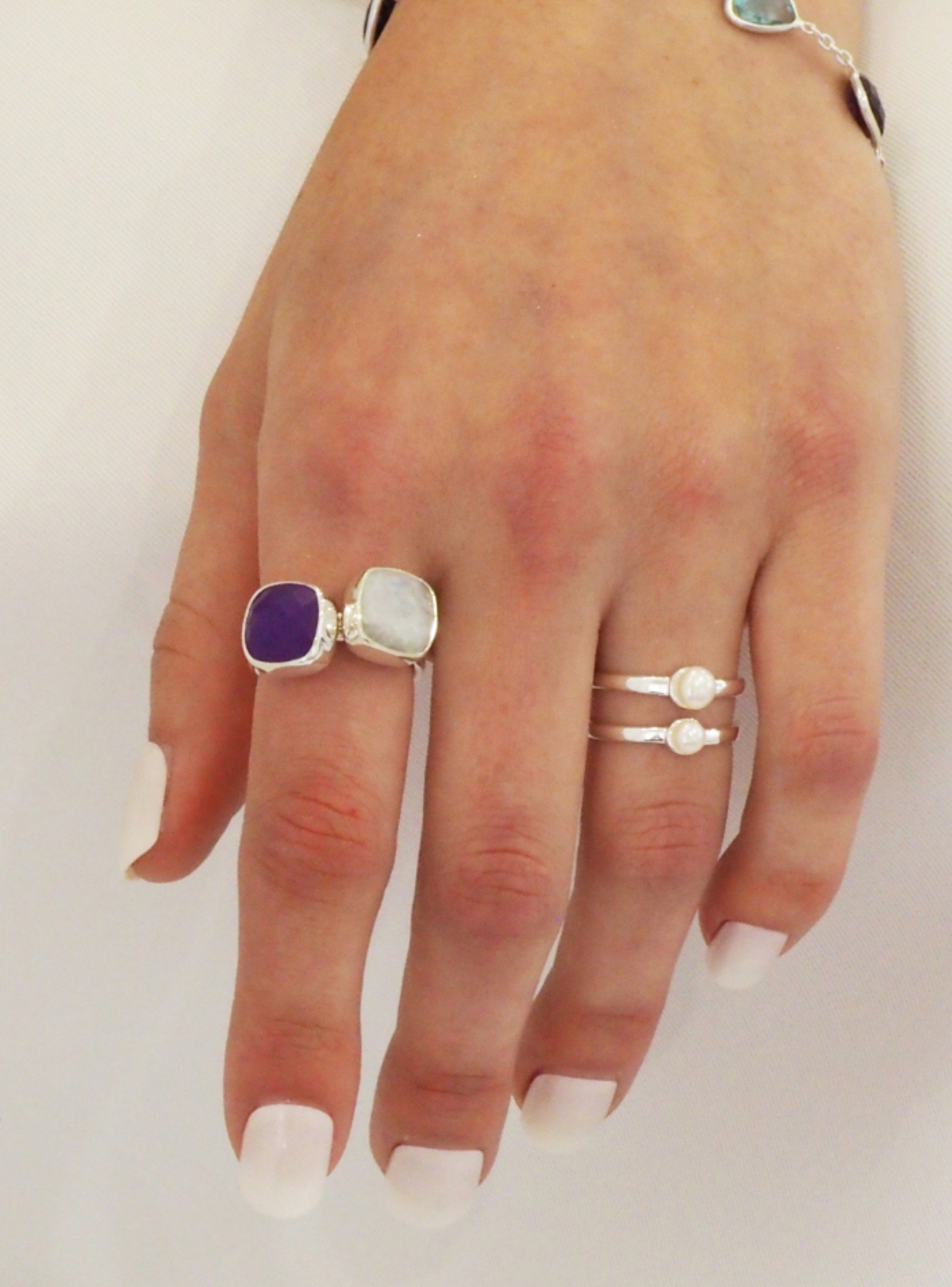 Indie Moonstone Gemstone Ring in Silver