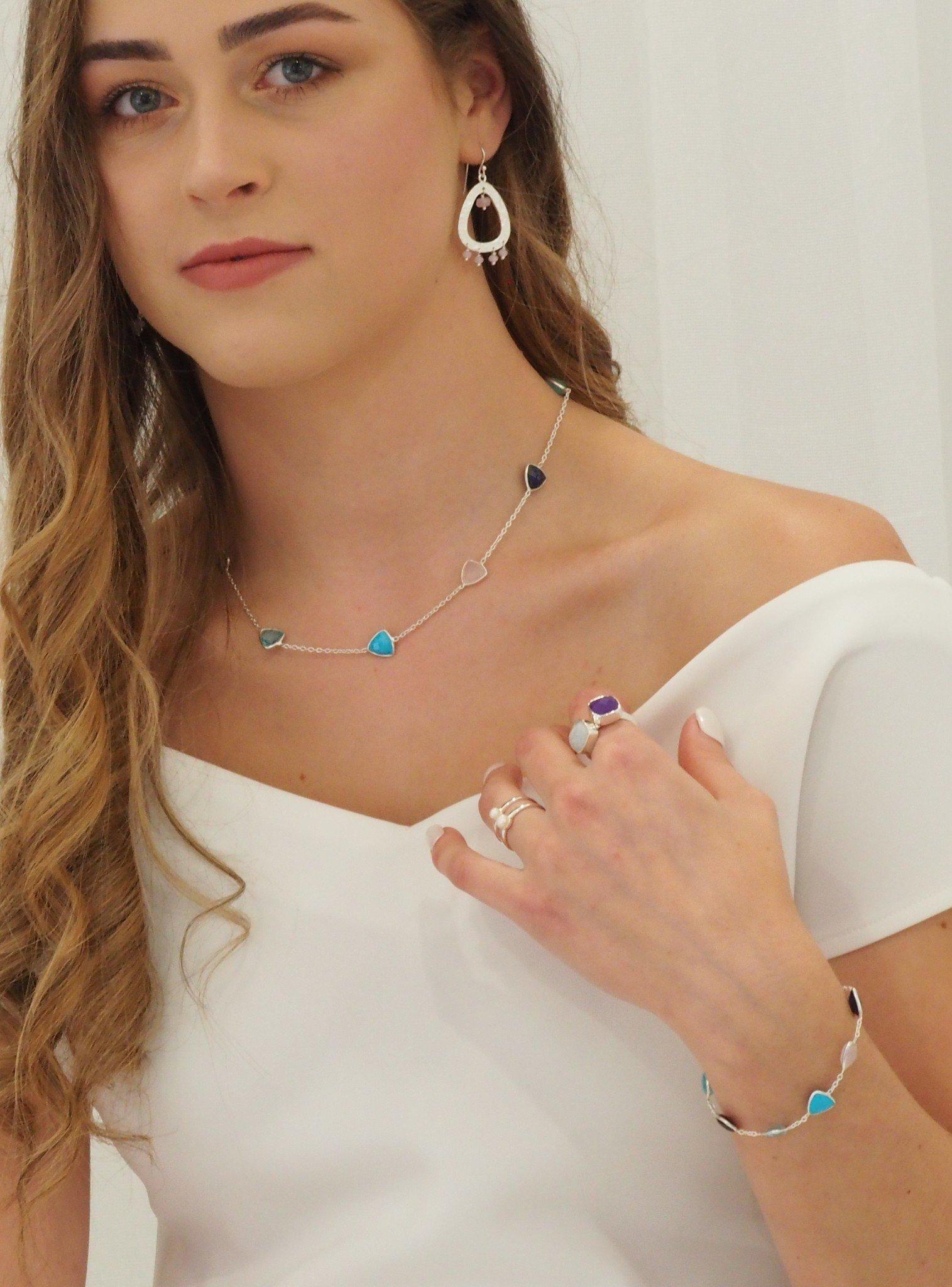 Indie Moonstone Gemstone Ring in Silver