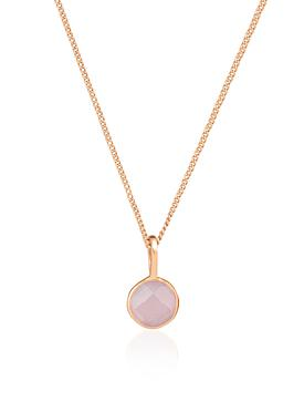 Selene Pendant Rose Quartz Necklace in Rose Gold