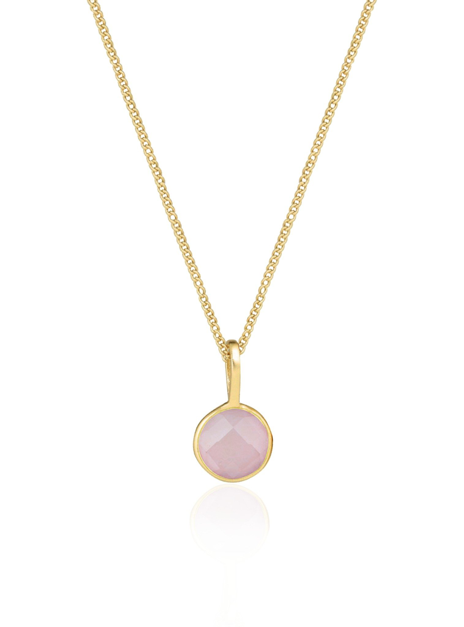 Selene Pendant Rose Quartz Necklace in Gold