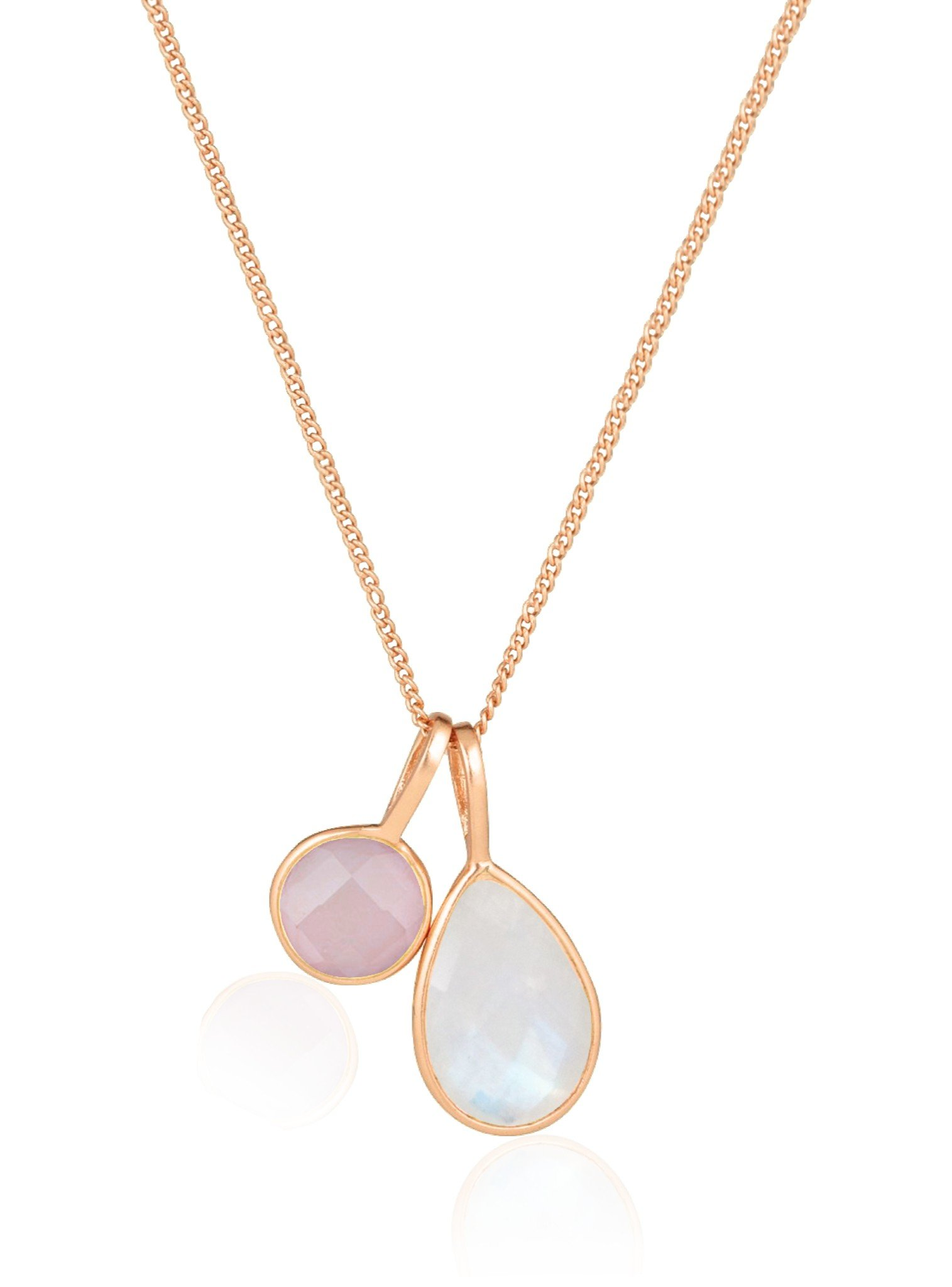 Selene Rose Quartz and Moonstone Necklace Rose Gold
