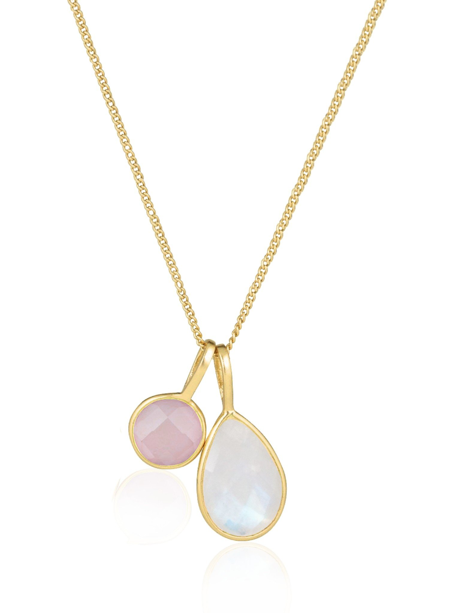Selene Rose Quartz and Moonstone Necklace in Gold