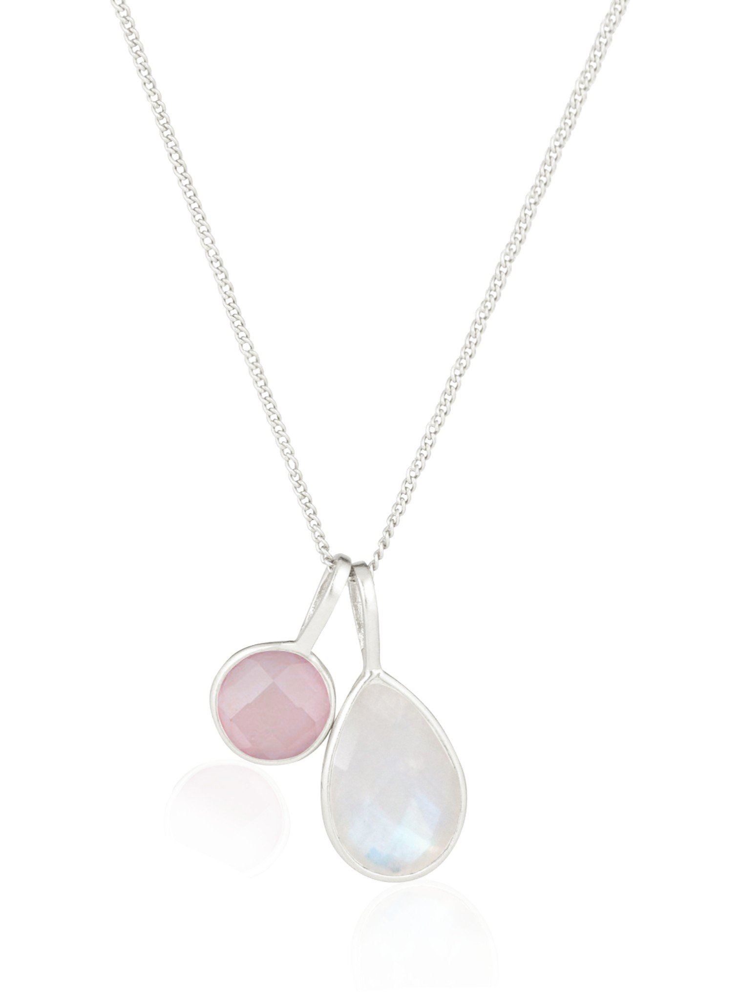 Selene Rose Quartz and Moonstone Necklace in Silver