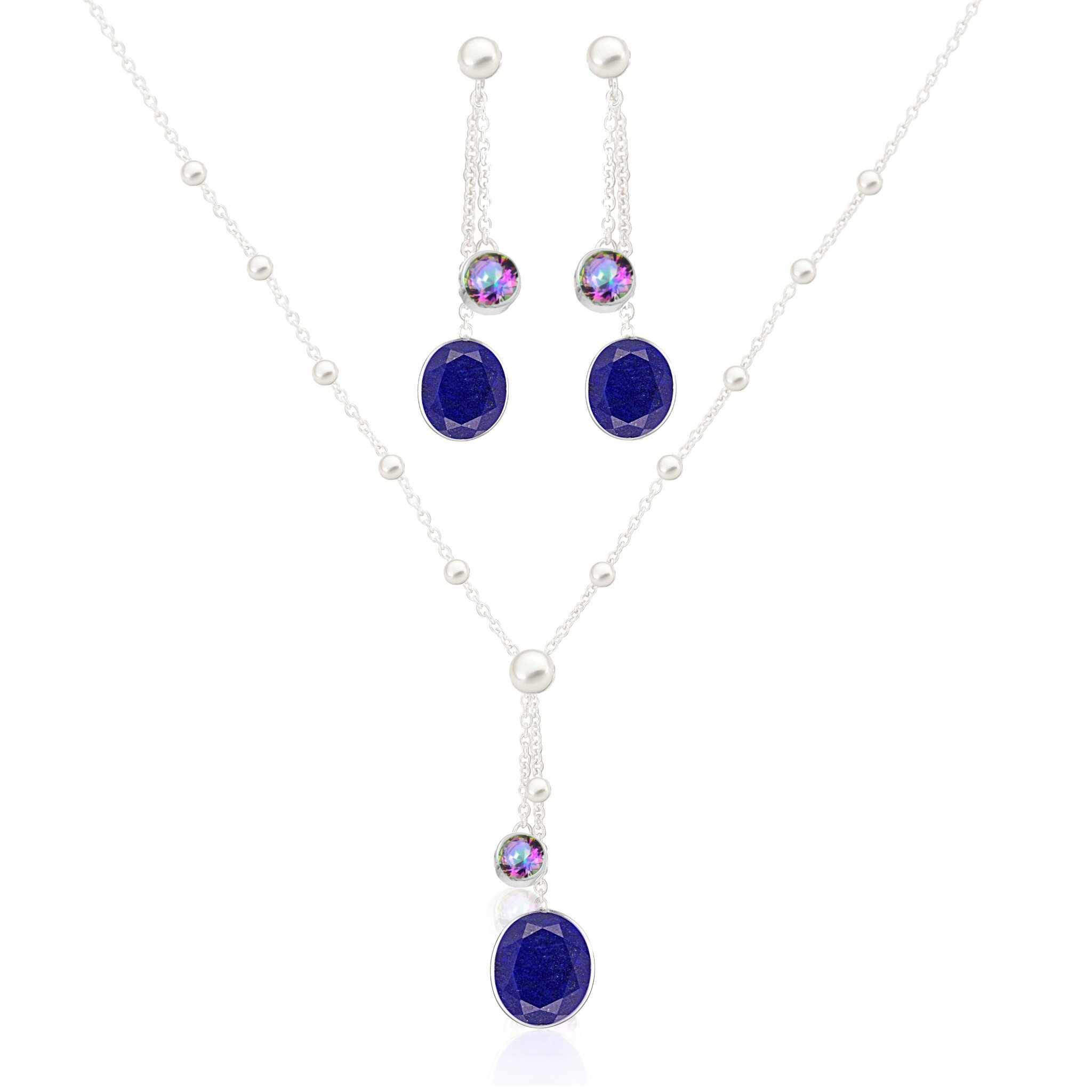 Clarke Lapis Mystic Topaz Pearl Necklace in Silver