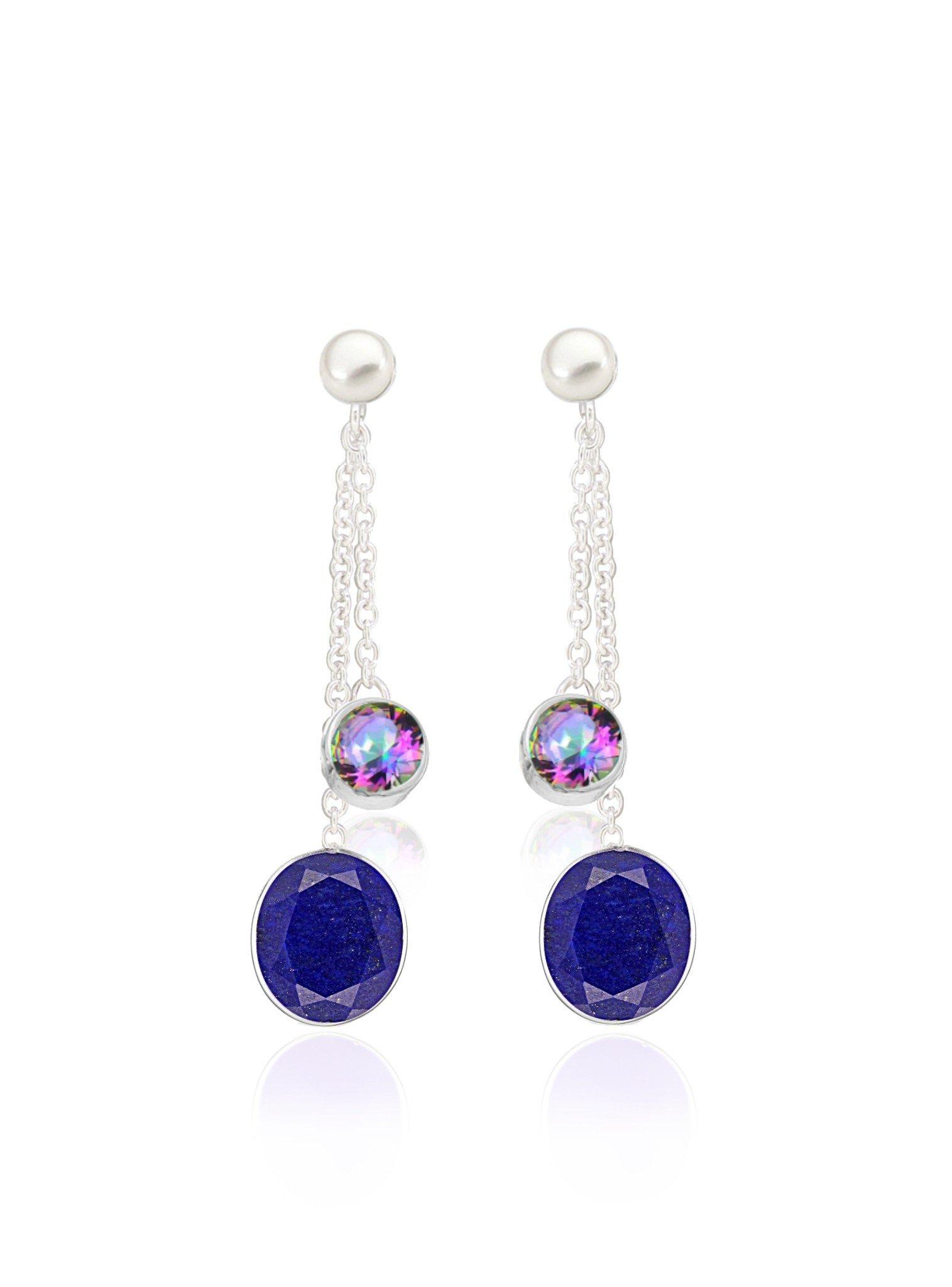 Clarke Lapis Mystic Topaz Pearl Earrings in Silver