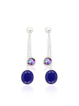 Clarke Lapis Mystic Topaz Pearl Earrings in Silver